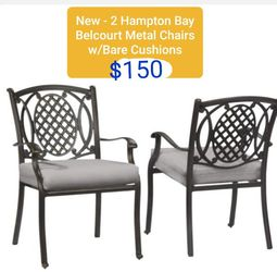 NEW - PAIR of Hampton Bay Belcourt Outdoor Patio Chairs W/Cushions $150 for Sale in Lewis Center,  OH