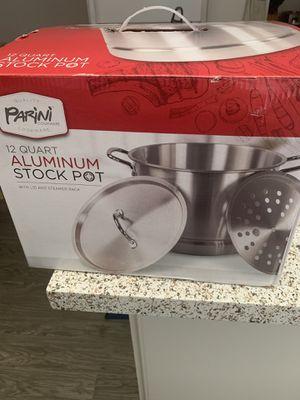 New Parini 12Qt Aluminum Stock Pot New in Box/Olla de aluminio para tamales o pozole nueva for Sale in Chino, CA