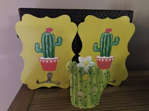 2 Cactus Double Wall Hooks & Ceramic Votive Candle Holder for Sale in Mentor, OH