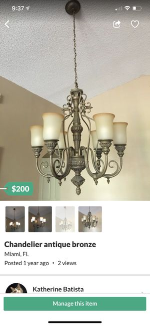 Chandelier antique bronze. Large chandelier for ceiling for Sale in Miami, FL