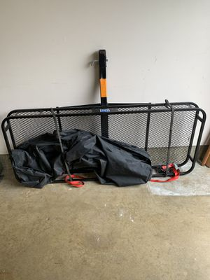 Hitched grated metal luggage carrier with oversized zip canvas bag and tension straps for securing. for Sale in Medinah, IL