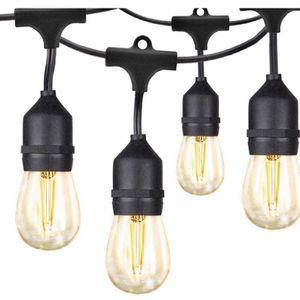 48Ft LED Outdoor String Lights, 2W Edison Vintage Upgraded Glass Bulbs, 15 Hanging Sockets, UL Listed Waterproof lighting for Café Garden Yard Bistro for Sale in Oceanside, CA