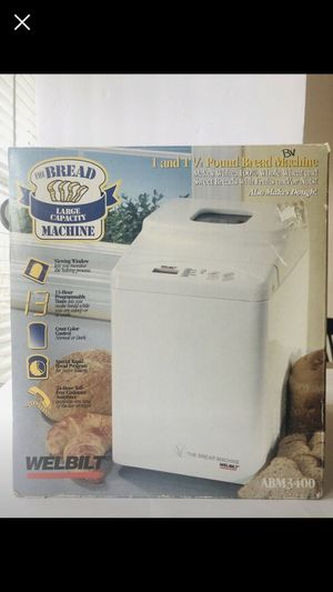 Welbilt Large Capacity Bread Machine ABM3400 1-1.5 Pound Loaf White LCD Display for Sale in Fall River, MA