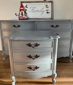 Newly Refinished Dixie Dresser Nightstand And Mirror French Provincial Style for Sale in Spanaway,  WA