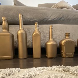 Gold Painted Decor Bottles for Sale in Houston, TX