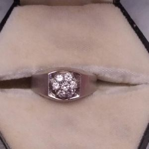 Size 10 Mens Ring.... 10krt White Gold Cluster Diamond ring for Sale in Jones, AL