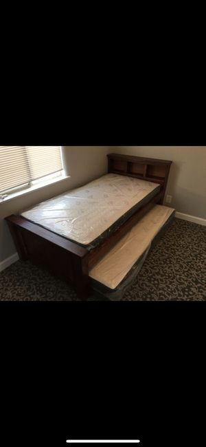 Twin Bed with Pull Out bonus roller bed- wooden frame for Sale in Bellflower, CA