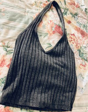 Gray/charcoal cropped halter knit top - S for Sale in Fairfax, VA