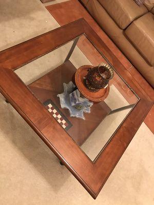 Center table Wood frame & Glass top for Sale in Ashburn, VA