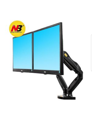NB North Bayou Dual Monitor Desk Mount Stand Full Motion Swivel Computer Monitor Arm for Two Screens 17-27 Inch with 14.3lbs for Sale in Bakersfield, CA
