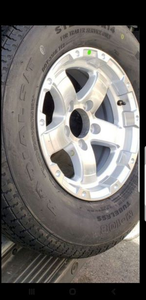 4 New 205/75/14 Trailer Rims/Wheels/Tires 205-75-14 R14 inch 5 lug 5x4.5 for Sale in Moreno Valley, CA