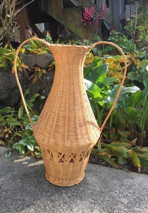 Wicker jug basket/plant flower holder for Sale in Des Moines, WA