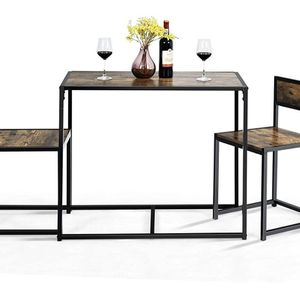 New in box.3 Piece Dining Set, Industrial Dining Table with 2 Chairs, Small Kitchen Table Set with Metal Frame, Compact Bistro Table Set, Pub Breakfas for Sale in Auburn, WA