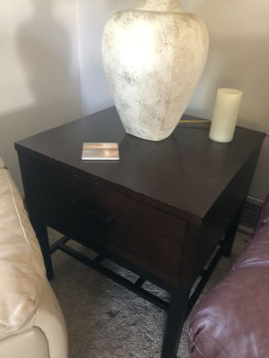 Two hardwood end tables, dark stain. Good shape and great drawers for storing things! Also a nice metal framework for storing and appeal. for Sale in Edmonds, WA