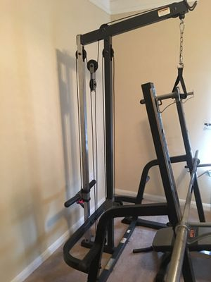 Inclusive Home Gym with plates and dumbbells for Sale in Houston, TX