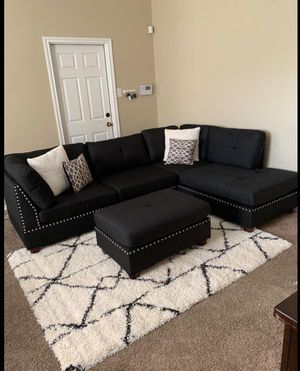 New in box black sectional sofa includes ottoman & two accent pillows for Sale in Fullerton, CA