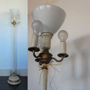 Vintage White Torchiere Floor Lamp for Sale in Seattle, WA