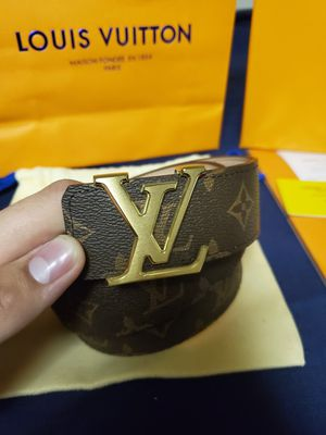 Authentic Louis Vuitton belt Size 95/38 Brown with Gold LV for Sale in Romeoville, IL
