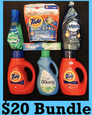 Tide downy dawn crest toothpaste mouthwash $20 Bundle for Sale in Los Angeles, CA