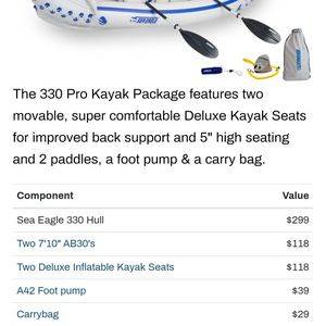 SEA EAGLE 330 INFLATABLE KAYAK 2 SEATS for Sale in Davenport, FL