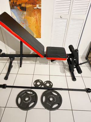 Bench, barbell , Weights and Adapter for leg curl for Sale in Hialeah, FL