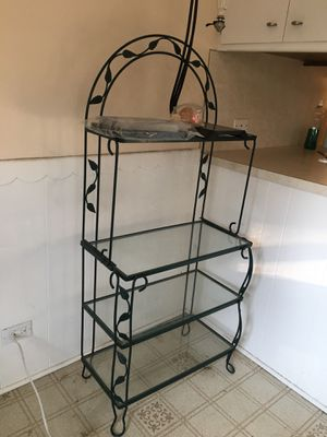 Bakers rack, 4 glass shelf for Sale in Skokie, IL