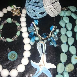 Starfish Sea Turquoise And Glass Bead Necklaces Blown Glass Pendants And Bracelets. Misc Lot for Sale in Renton, WA