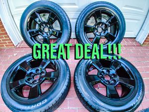 "BRAND NEW! Factory Chevrolet jet black Rims 20"" x4! (Comes with tires, wheel nuts, and wheel caps) GREAT DEAL!!! for Sale in Dunkirk, MD"