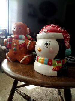 2 Christmas Themed Cookie Jars Gingerbread Penquin for Sale in Cincinnati,  OH