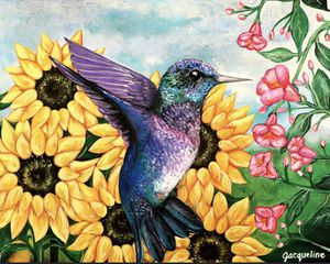 Hummingbird Sunflower Artwork for Sale in San Antonio, TX