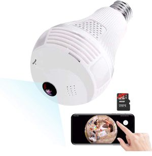 Light Bulb Camera,Include 16GB Card 1080P WiFi Security Camera, 2MP Wireles IP LED Cam,360 Degrees Panoramic VR Indoor/Outdoor Home Surveillance Came for Sale in Upland, CA