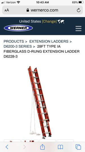 Werner 28' extension ladder (3, 10' sections make it about 11' long total) so that it fits on a truck rack easily. Holds up to 300 lbs. for Sale in Escondido, CA