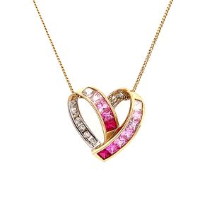 10k/925 Pink Gem Heart Necklace for Sale in Alexandria, VA