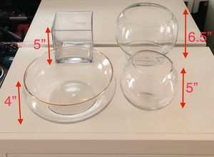 Glass vase/container, fish bowls, 4pcs of set for Sale in Los Angeles, CA