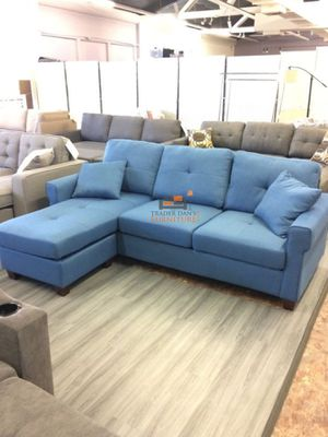 Brand New Navy Blue Linen Sectional Sofa Couch for Sale in Chevy Chase, MD