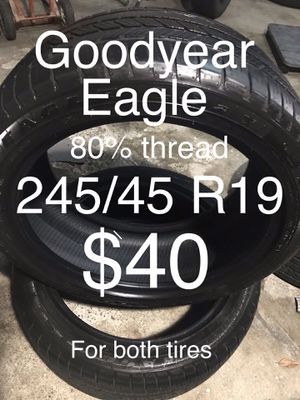 2 Goodyear Eagle 245/45 R19 for Sale in San Leandro, CA
