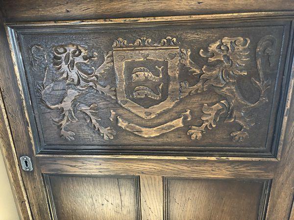 Antique Corner Wood/Glass Cabinet