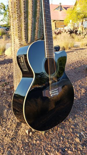 New 12 String Acoustic Electric Requinto Guitar Black Combo with Gig Bag & Accessories Guitarra Electrica Acústica Docerola 12 Cuerdas for Sale in Buckeye, AZ