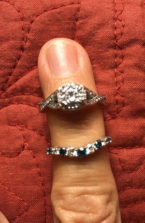 Tacori cz engagement ring 18k size 6. Genuine diamond wrap in 18k size 6. Total of 9 diamonds / 5 colored diamonds. for Sale in Van Buren Bay, NY