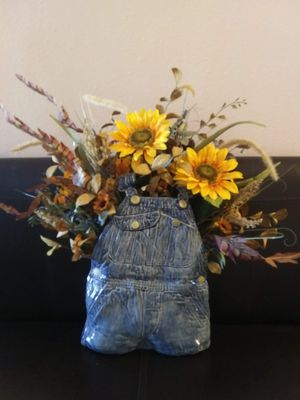 Ceramic blue jean bib short flower vase for Sale in Dimock, SD