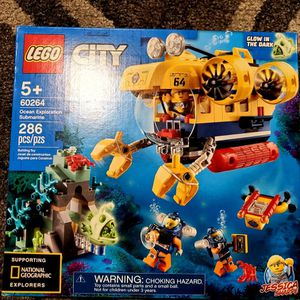 New LEGO City Ocean Exploration Submarine 60264, with Toy Submarine, Coral Reef Setting, Underwater Drone, Glow in The Dark Anglerfish Figure and 4 Ex for Sale in St. Petersburg, FL