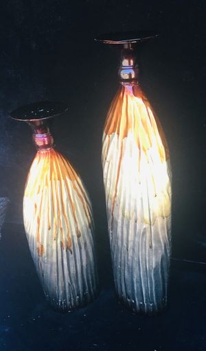 Light Metal candle holders, beautiful artwork, H20 x W5.5 inch & H16 x W5.5 inch for Sale in Chandler, AZ