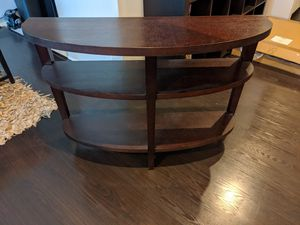 Crate & Barrel wood crescent shelved console table for Sale in Los Angeles, CA