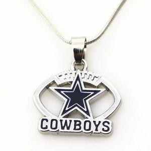 Dallas Cowboys Silver Football Pendant Necklace for Sale in Waxahachie, TX
