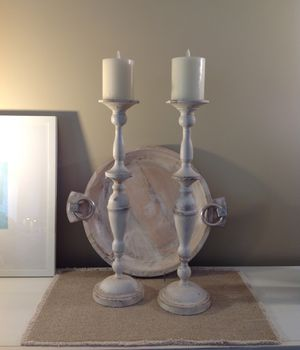 """2 VERY TALL DISTRESSED IVORY PAINTED METAL CANDLE HOLDERS ~ 19 1/2"""" TALL for Sale in Thousand Oaks, CA"""