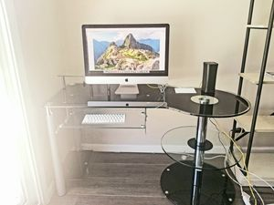 Black/Clear Glass Computer Desk for Sale in Ontario, CA