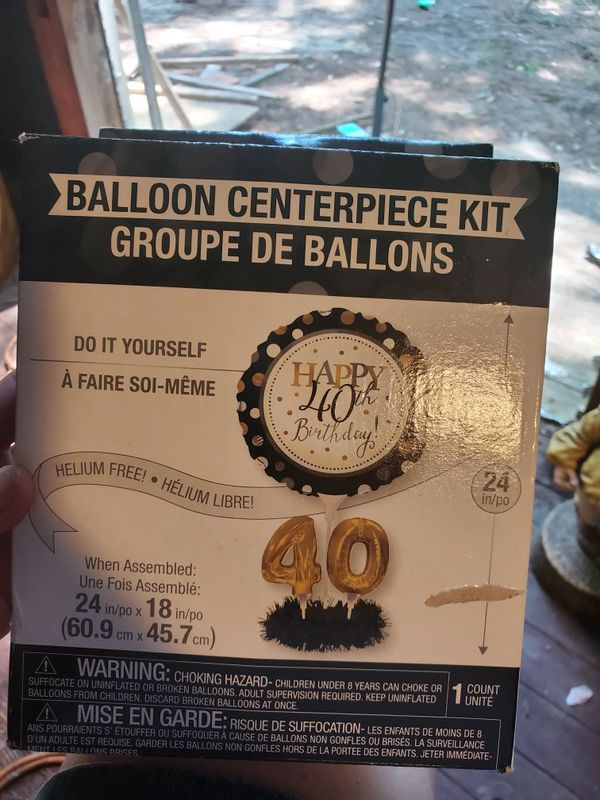 Happy 40th birthday balloon centerpiece kit