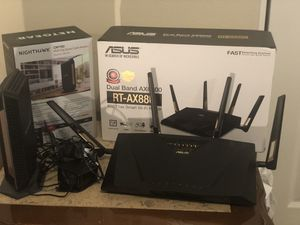 Netgear CM1100 Gigabits modem and Asus Ax88u router for Sale in Gresham, OR