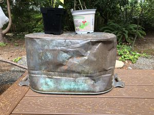 Vintage Copper large metal bucket RUSTY COOL! 22x 13x12 for Sale in Everett, WA