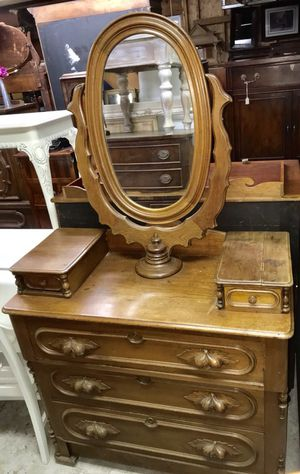 Antique carved solid wood vanity dresser with mirror for Sale in Rockville, MD